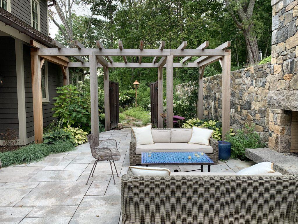 Outdoor fireplace and trellis Washington
